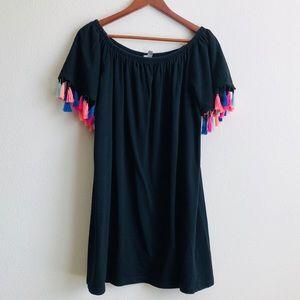 Asos off the shoulder black dress - size 14